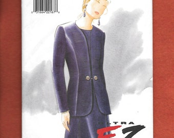 Vintage 1995 Vogue 9325 Misses' Ultra EZ Jacket And Dress, Semi Fitted, & Princess Seams For A Most Flattering Look, Sizes 8, 10, 12, UNCUT