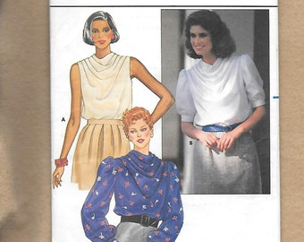 Vintage 1980's Butterick 6638 Misses' Tops,With Sleeve Variations, And Cowl Neckline, Size 16, UNCUT
