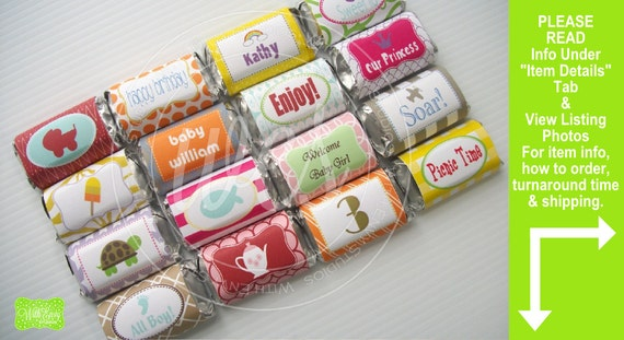 Mini Chocolate Bar Wraps - Chocolate Bar Wrappers - Custom Chocolate Bar Wrappers - PRINTABLE or PRINTED