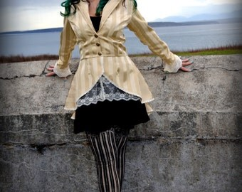 Gold Striped Steampunk Coat, Lace trimmed coat, Lined jacket, lace up back Steampunk Coat