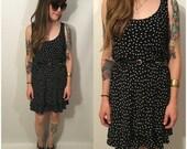 Vintage 90s Black Dress with Polka Dots Ruffle Hem Cross Back Size Medium