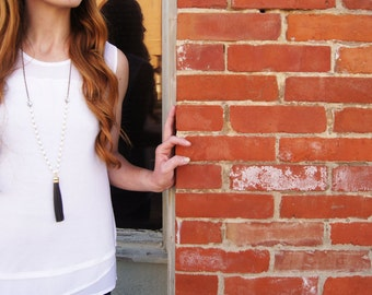 Long Necklace - Leather Tassel Gray and White Long Necklace