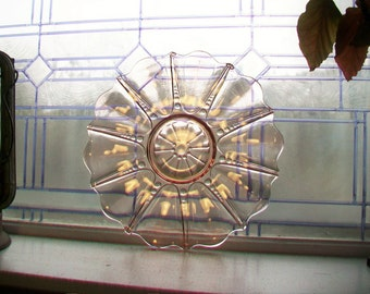 Pink Depression Glass Large Plate Charger Oyster and Pearl Vintage 1930s