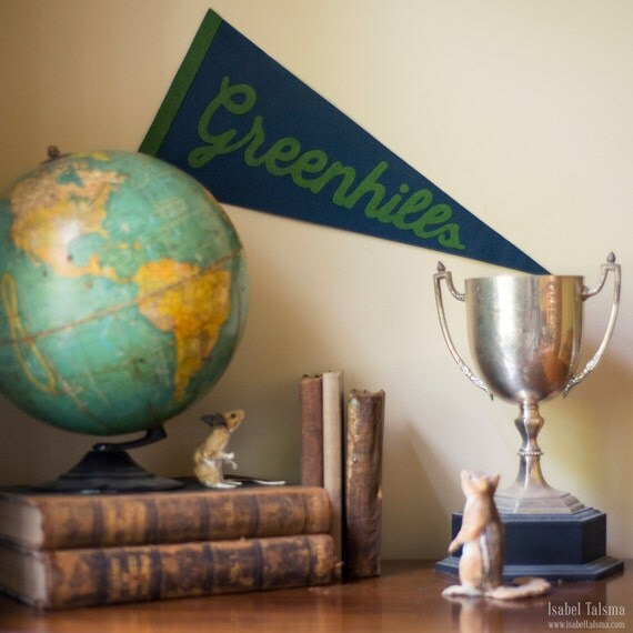Vintage Inspired Custom Felt Pennant 8x18 inches (Made To Order)
