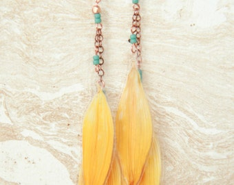 Natural Flower Jewelry - Yellow Sunflower Pressed Flower Petal Earrings with Copper & Turquoise Glass Beads