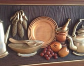Wall Art Kitchen Picture by Turner Copper Look Retro Decor Dining Room Decor Mid Century Home Pewterware Metal Feel 50s 60s Food Harvest