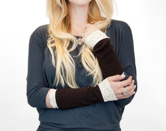 Long Wrist Warmers, Lace Fingerless Gloves, Womens Gift for Her Wife Gift, Best Friend Gift, Brown Wrist Cuff, Arm Warmer, Tattoo Cover Up