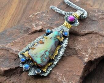 Renaissance Boulder Opal  Pendant