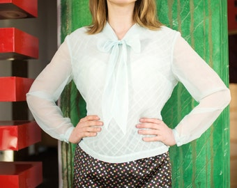 Vintage Sea Foam Sheer Back Button Bow Tie Pleated Blouse