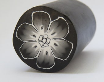 Large unbaked polymer clay cane, Black and white flower , raw polymer clay cane, black and white, DIY crafts, Clay supply, handmade cane
