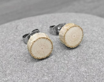 Pale Birch Wood Stud Earrings - Wood Slice Post Earrings - Petite Birch Bark Earrings with Surgical Steel