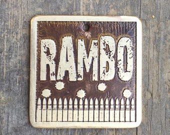 Rambo Dog Tag / Dog Tag for Dogs / Bullets Dog Tag / Bullets Etched Brass Pet Tag