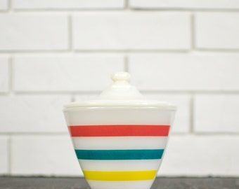 Anchor Hocking Fire King Stripes Grease Jar - Pink, Blue, Yellow Striped Grease Container Range Set - Mid Century Colorful Kitchen