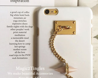 Unique Egyptian Evil Eye Spike Gold Hook Stud Wristlet Wrist Rose Quartz Crystal Chain Charms Candy Shell Hard Case For iPhone 6s - 4.7""