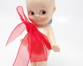 Vintage Rose O'Neill  Bisque Kewpie Doll,  Blue Wings, Hand Painted for Valentines