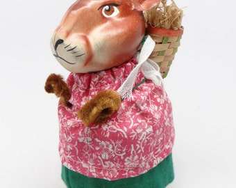 Vintage German Paper Mache Easter Bunny Rabbit, Hand Painted with Basket Candy Container and Grass