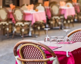 Paris Cafe Photograph, Rue Mouffetard Cafes, French Home Decor, Fine Art Travel Photograph, Gallery Wall Art