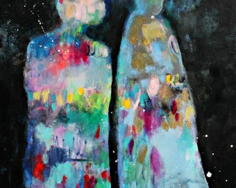 "Abstract Figures Angel Painting on Canvas, Colorful Artwork Original 20x20"" ""Night Walkers"""