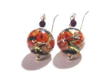 Murano Glass Red Roses Gold Earrings, Venetian Glass Leverback Earrings, Clip on Earrings, Lampwork Glass Jewelry,