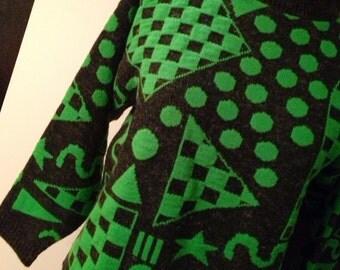 1970s Black and Bright Green Geometric Sweater