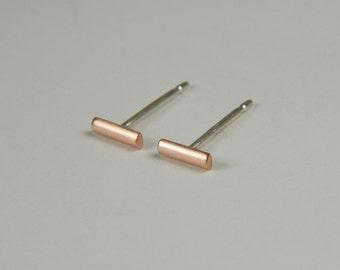 Rose Gold Studs Minimal Gold Earrings Rose Gold Bar Earrings Modern Gold Studs 14K Gold Line Earrings