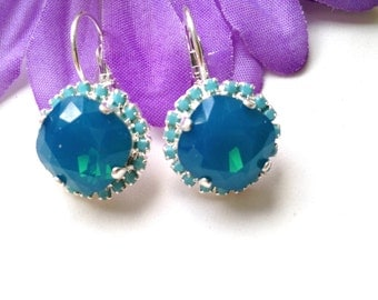 Blue Caribbean Topaz Swarovski Earrings,Rhinestone  Lever Back earrings,