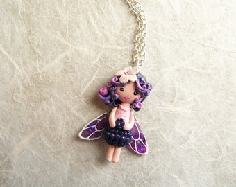 On sale!! 20% discounted! Blackberry fairy. Pixie necklace. One of a kind.