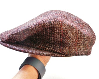 Country Gentleman Brown Tweed Drivers Cap Newsboy Hat Size Large 22 1/2""