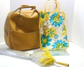 Vintage Carry On Weekender Retro Diaper Bag Vinyl YELLOW Gold Lemon Soft Sided Luggage Zipper Pockets Strap Bag Excellent Condition