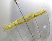 Vintage Bubble Dome Umbrella Long Handle Clear Plastic Vinyl Retro Mod Umbrella with yellow trim and wood handle