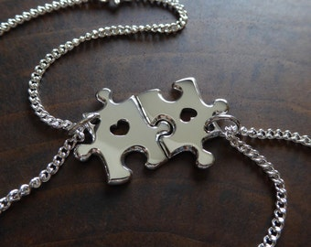Two Silver Puzzle Bracelets, Best Friend Charm