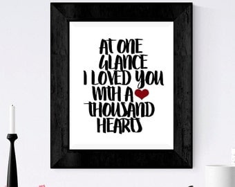 LOVE Print -  At one glance - Wall Art Print - nursery decor - gift for him - gift for her - anniversary - brush script - simple print