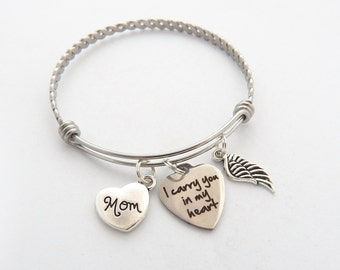 Memorial Jewelry, Sympathy Gift Mother, SYMPATHY BRACELET, Loss of mother, Mom Remembrance Bracelet, In memory of, I carry you in my heart
