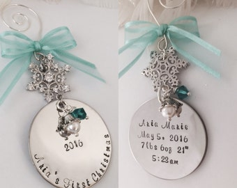 Double Sided Baby's first Christmas Personalized Hand Stamped with baby's birth info Silver Snowflake  Christmas Holiday Ornament