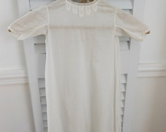 Vintage Baptism gown, white cotton Christening gown