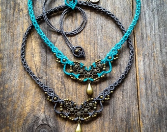 Flowers necklace Macrame boho chic choker antique brass tone bohemian micro macrame jewelry by Mariposa