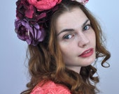 Bold Colourful Ombre Flower Crown Headpiece