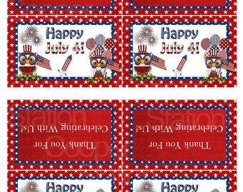 Digital Printable 4th of July Bag Toppers - Treat Bag Toppers - Owls - Patriotic