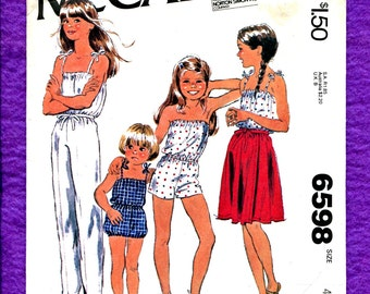 Vintage 1980's McCalls 6598 Summer Time Rompers & Jumpsuit with Wrap Skirt for Girls Size 4 UNCUT