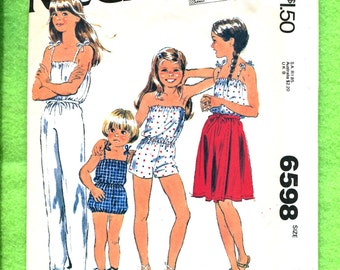 Vintage 1980's McCalls 6598 Summer Time Rompers & Jumpsuit with Wrap Skirt for Girls Size 12 UNCUT