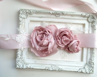 Beautiful Dusty Pink Handmade Flower Peonies White Lace Bridal Maternity Sash Belt , Rustic Wedding Dress Belt, Flower Girl Bridesmaids