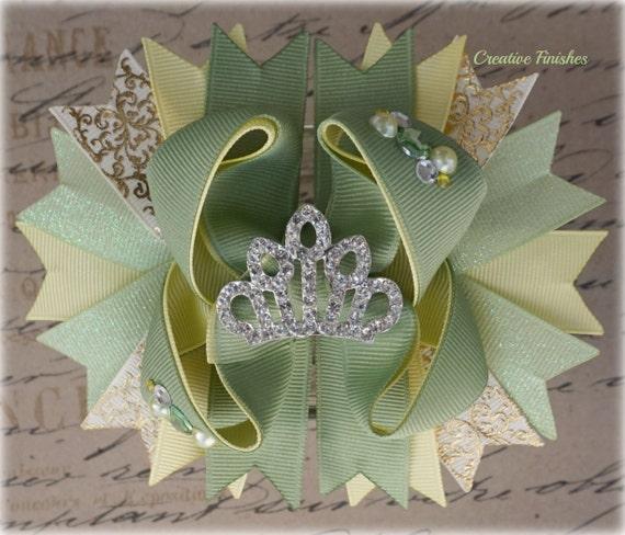 Tiana Hair Bow Tiara Bow Yellow and Green Princess