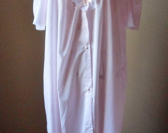 Baby Pink Nightgown with Lace, Size L, Button-down Cotton Gown, Sear's Cachet Dressing Gown