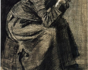 Van Gogh Reproduction. Sorrowing Woman, 1883 by Vincent van Gogh, Fine Art Print.