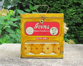 Vintage cookie tin, Ivins biscuits tin, commercial product tin, lithographed tin, c.1930's kitchen collectible