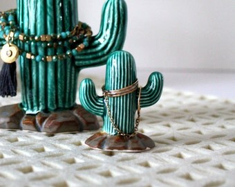 Cactus Ring Holder - Ring Tree.  Tiny ceramic cactus, perfect for holding rings of any size!  Engagement, wedding, bridal gift