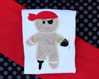 Boys Christmas Shirt - Christmas Pirate Gingerbread Shirt - Christmas Pirate Shirt - Boys Christmas Shirt - Embroidered Shirt - Christmas