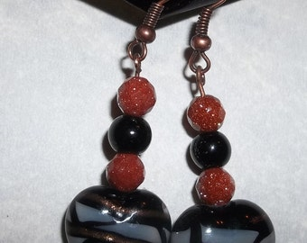 Black & Goldstone Glass Bead Dangle Earrings