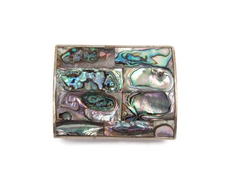 Vintage Alpaca Silver Abalone Shell Trinket Box Mexican Mosaic Jewelry Box Mother of Pearl Hinged Box Red Velvet Lined