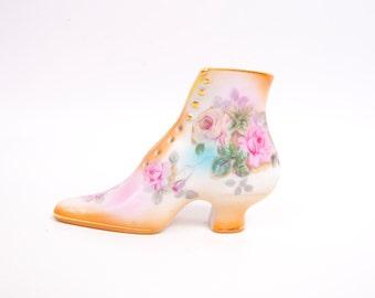 Vintage RS PRUSSIA Porcelain Shoe Hand Painted Pastel Roses Gold Trim Victorian Shoe Boot Planter Vanity Accessory Trinket Holder